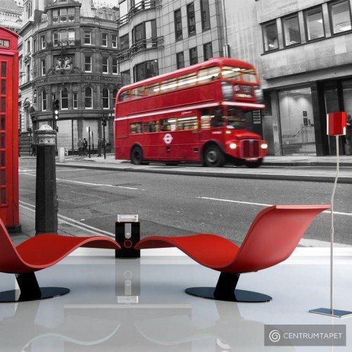 Fototapeta 100404-6 Londyn: czerwony autobus i budka telefoniczna