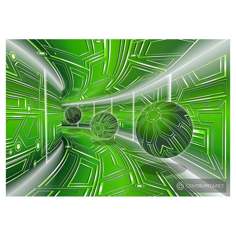 Fototapeta 10077 Zielony tunel 3D z kulami