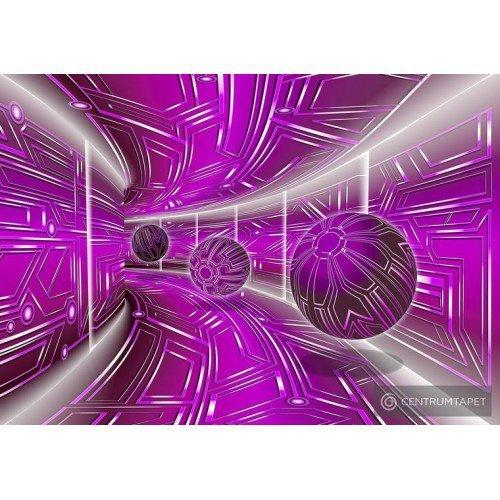 Fototapeta 10078 Fioletowy tunel 3D z kulami
