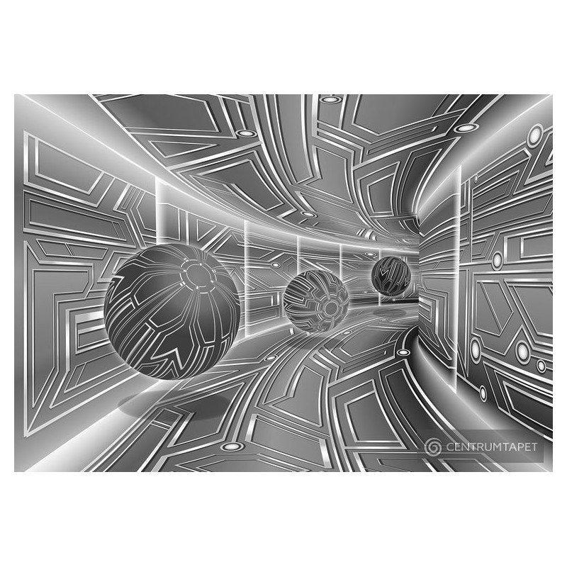 Fototapeta 10079 Szary tunel 3D z kulami