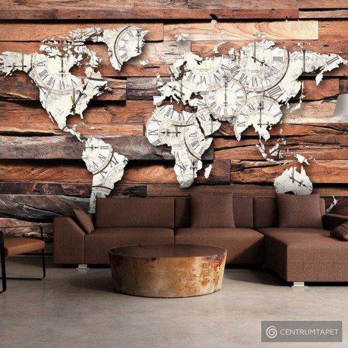 Fototapeta Mapa na drewnie k-A-0028-a-b