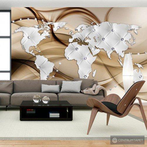 Fototapeta Mapa świata - Biały & Diamenty k-A-0031-a-b