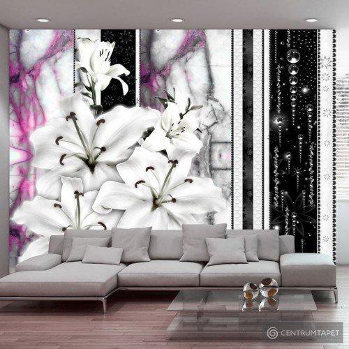 Fototapeta Płaczące lilie na fioletowym marmurze 10110906-99