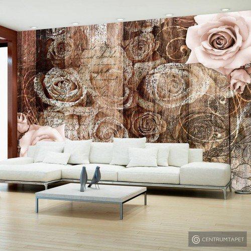 Fototapeta Stare drewno i róże b-A-0249-a-a