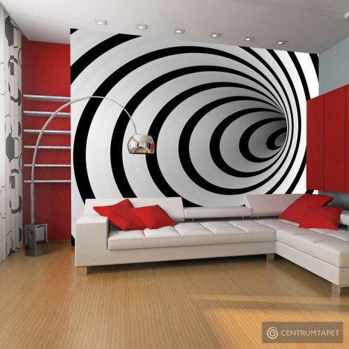 Fototapeta Czarno-biały tunel 3D 100401-6