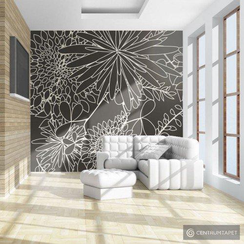 Fototapeta Czarno biały motyw kwiatowy 100405-55