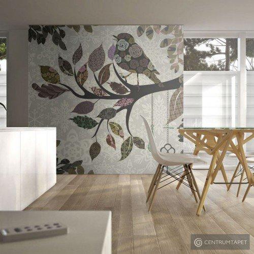 Fototapeta Ptaszek na gałęzi (patchwork) 100405-60