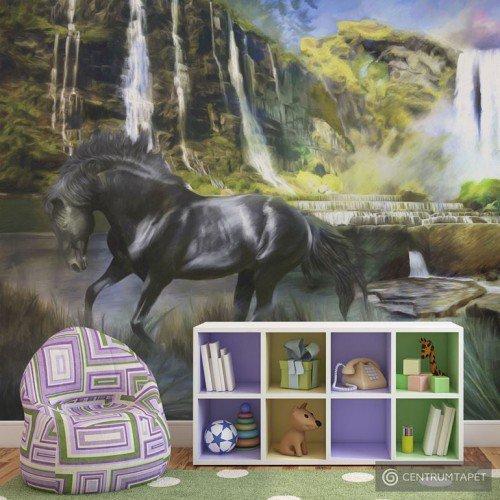 Fototapeta Koń na tle błękitnego wodospadu 10040903-25