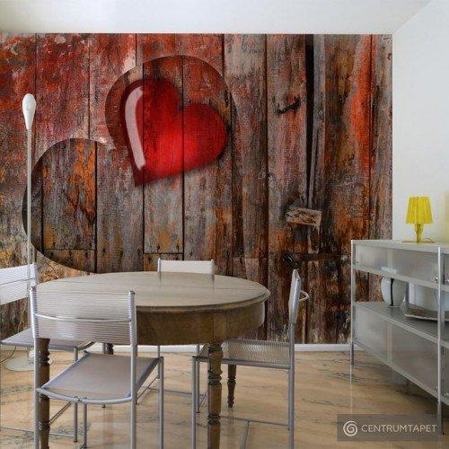 Fototapeta Serce wyryte w drewnie 10040905-100