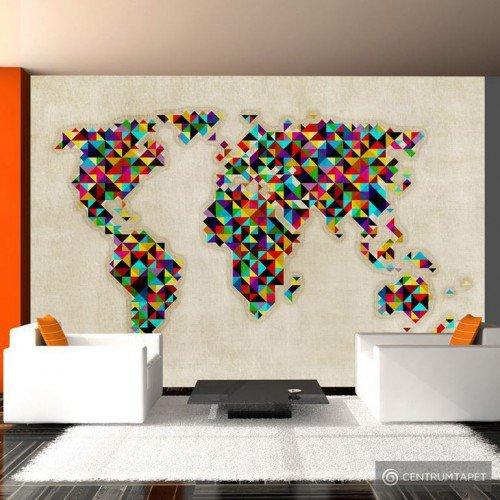 Fototapeta World Map - a kaleidoscope of colors 10040910-22