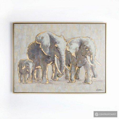 Obraz ręcznie malowany 102415 Rodzina słoni Graham&Brown