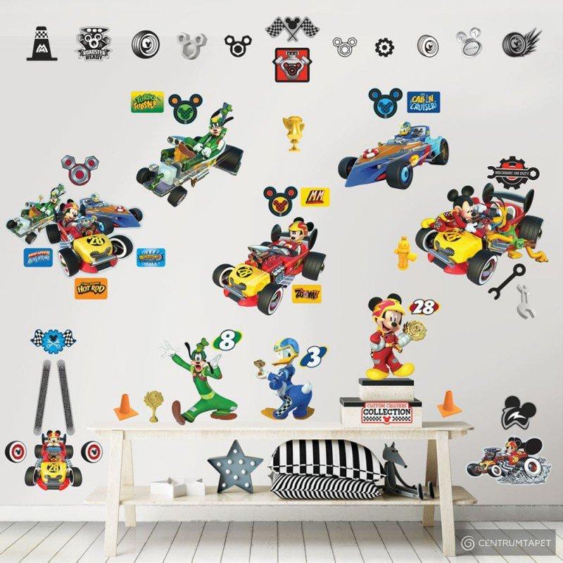 Zestaw naklejek do dekoracji pokoju 45613 Disney Myszka Miki Roadster Racer